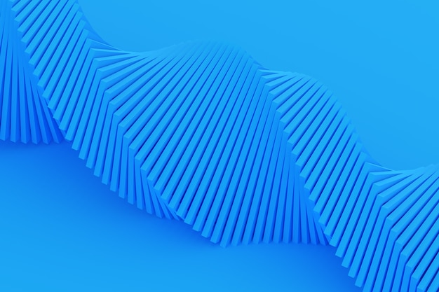 3d illustration of a stereo strip of different colors. simplified blue dna line