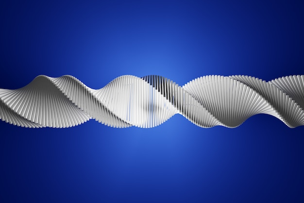 3d illustration of a stereo strip of different colors. simplified white dna line