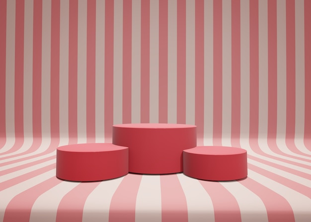 3dイラスト。ストライプのミニマルシーン、化粧品プレゼンテーションの表彰台。幾何学的な表彰台のプラットフォームと抽象的な背景。デザイン、プレゼンテーション、広告のテンプレート。与える