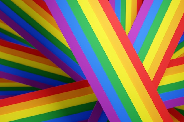 3d illustration of the stripes lgbt community flag.