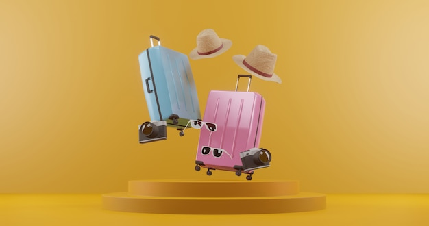 3d illustration suitcase with traveler accessories. travel concept. 3d rendering