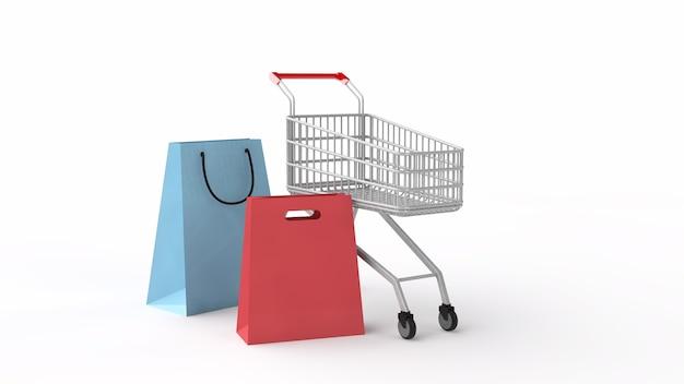 Корзина покупок супермаркета 3d иллюстрации и пакеты покупок