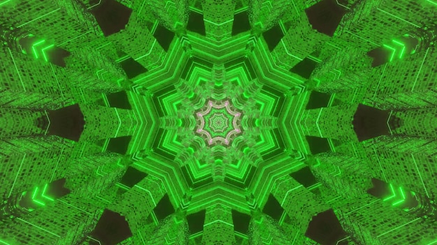 3d illustration of symmetric abstract background of bright green kaleidoscopic ornament forming tunnel
