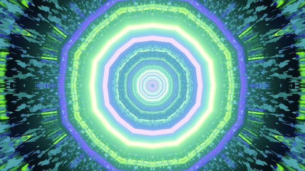 3d illustration of symmetric circular pattern with bright neon lamps glowing in swirling tunnel