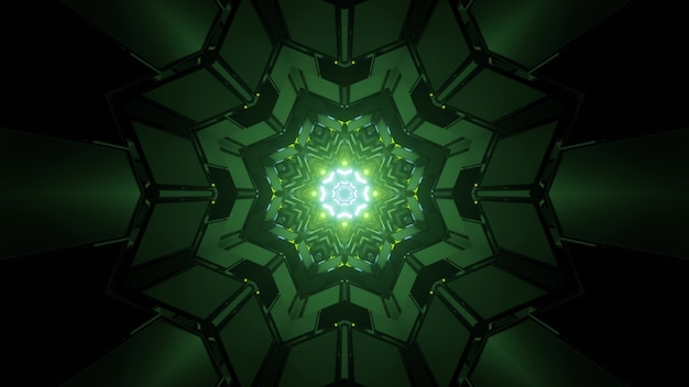 3d illustration of symmetric in dark tunnel with green neon lights reflecting in geometric walls