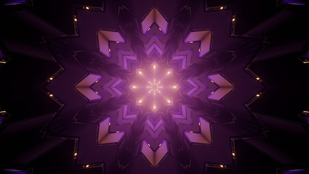 3d illustration of symmetric purple kaleidoscope ornament with purple lines as abstract background
