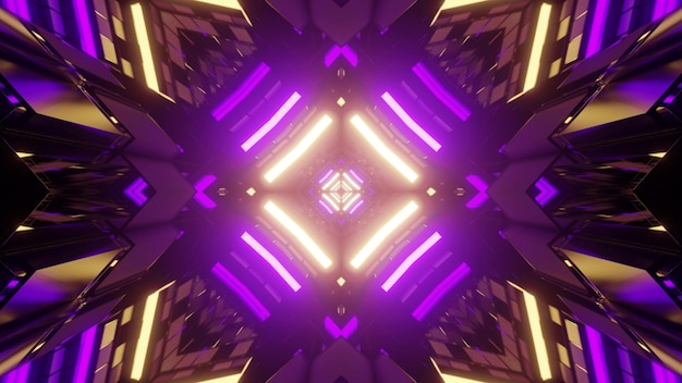 3d illustration of tall geometric figures reflecting bright purple and yellow neon illumination as symmetric background