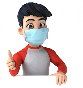 3d illustration of a teenager with a mask for coronavirus prevention