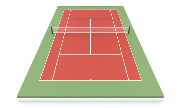 白で隔離の3dイラストテニスコート