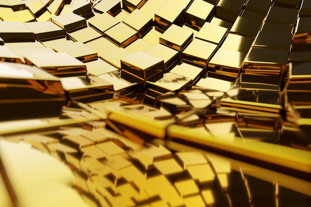 Иллюстрация 3d золотой путь, ведущий к богатству и успеху. композиция квадратной формы геометрическая. желтые металлические кубики расположены беспорядочно. схема проводов инфракрасного обогревателя.