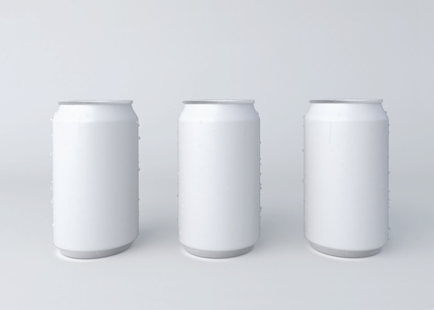 3d иллюстрации. три алюминиевых банки на белом фоне.