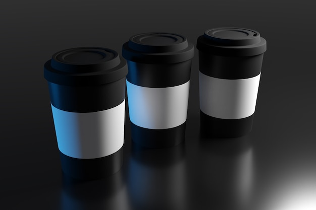 3d illustration of three coffee cups with plastic lid and holder on an isolated dark background with reflection and shadow