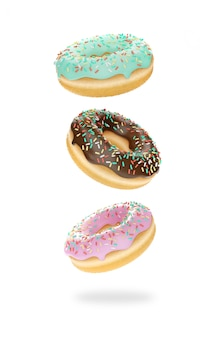 3dイラスト白い背景の上の3つのドーナツ