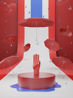 3d illustration of three finger salute for democratic on thailand