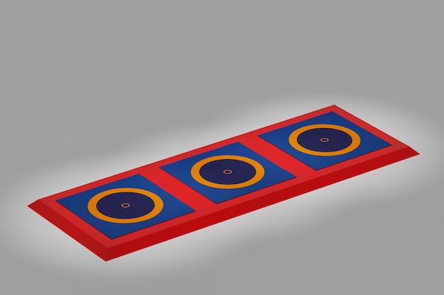 3d illustration three mats for greco-roman wrestling stand in a row under spotlights on a black background.