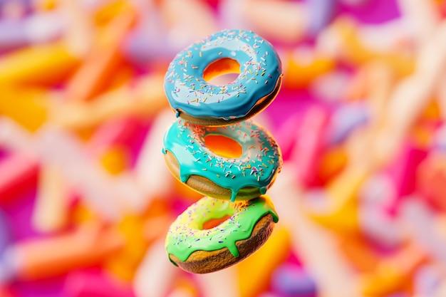3d 그림 여러 가지 빛깔의 뿌리와 세 가지 빛깔의 도넛은 흐린 배경에 짝수 행 비행 유약과 여러 가지 빛깔의 가루와 귀여운 화려하고 광택있는 도넛