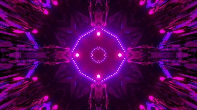 3d illustration through dark tunnel with purple neon geometric lines and spots for abstract science fiction concept design