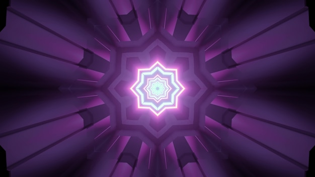3d illustration through fantastic tunnel with star shaped holes and geometric panels reflecting purple neon light