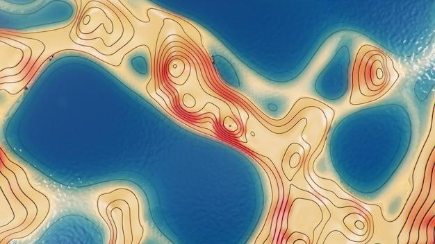 3d иллюстрации топографическая карта 3d с водой