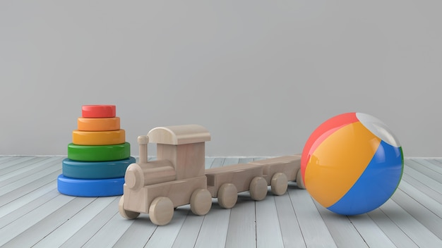 3d illustration toy wooden train and multi-colored pyramid and multi-colored ball