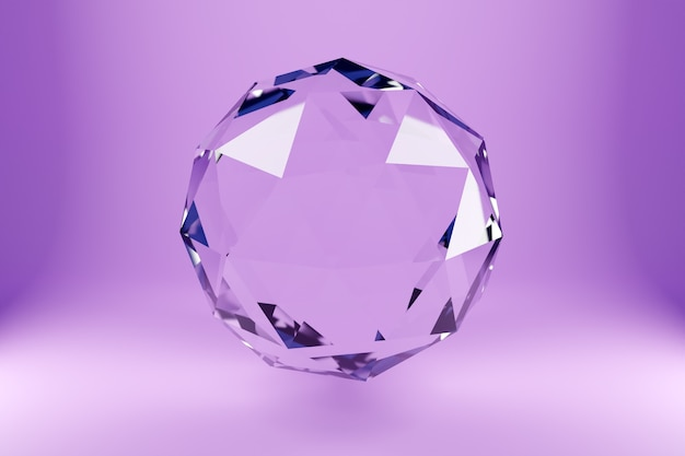 3d illustration of a transparent glass  ball  with many faces, crystals scatter   on a pink  background under a white neon light. simple three-dimensional geometric figure. cyber ball shape