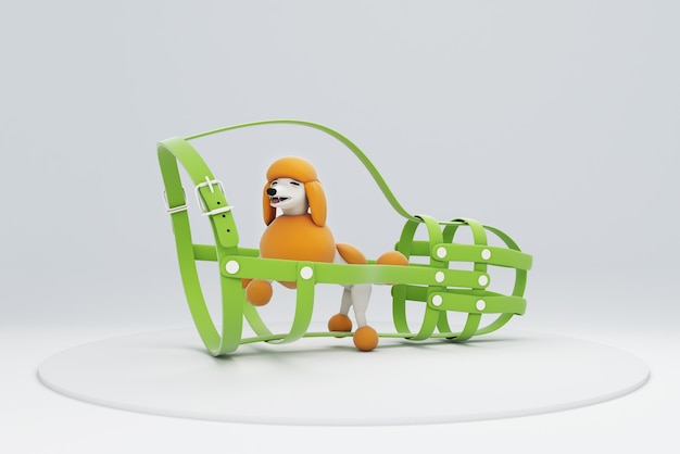 3d illustration of a trapped dog