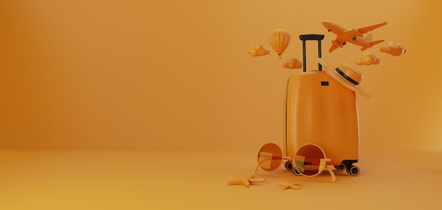 3d illustration. travel accessories with luggage.