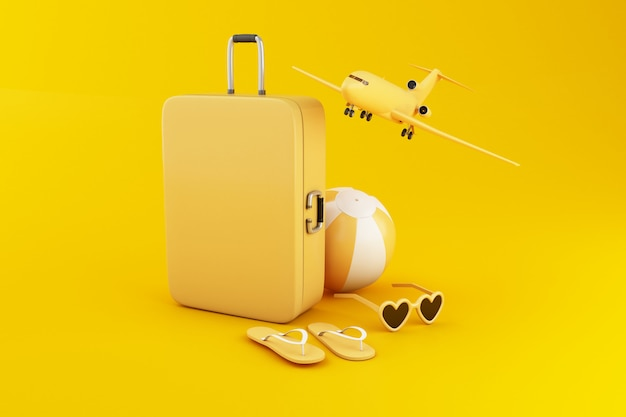 3d иллюстрации туристический чемодан, пляжный мяч, шлепанцы и солнцезащитные очки, на желтом фоне.