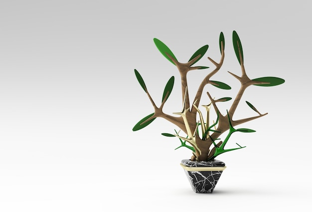 3d illustration of tree in a pot isolated on color background