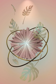 3dイラスト。トレンディな夏の熱帯の葉のパステルカラーの背景