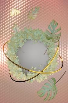 3dイラスト。地理情報学の背景を持つトレンディな夏の熱帯の葉。パステルカラーの背景