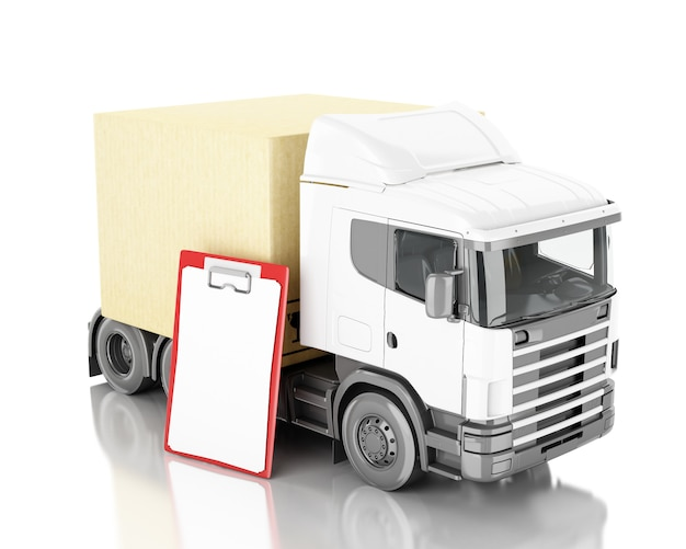 3d illustration. truck with carboard boxes.