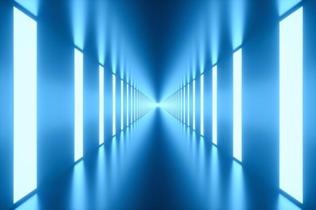 3d 그림. 측면에 조명이있는 터널.