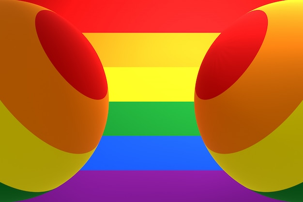 3d illustration of two balloons of the color of the flag of the lgbt community on a similar rainbow color.