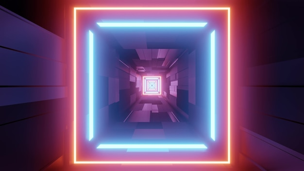 3d illustration of underground passage perspective with square shaped neon lines in futuristic style