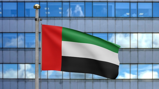 3d illustration united arab emirates flag waving in a modern skyscraper city. beautiful tall tower with uae banner soft smooth silk. cloth fabric texture ensign background. national day concept