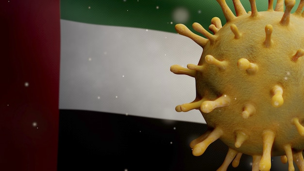 3d illustration united arab emirates flag waving with coronavirus outbreak infecting respiratory system as dangerous flu. influenza type covid 19 virus with national uae banner blowing at background