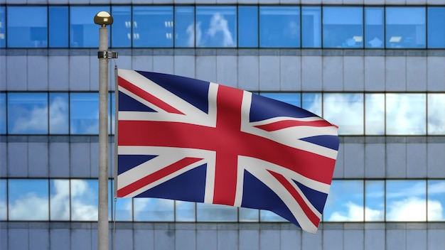 3d 그림 현대적인 마천루 도시에 물결 치는 영국 국기. 영국 배너 부드러운 부드러운 실크와 함께 아름다운 높이 타워. 천 패브릭 질감 소위 배경. 국경일 국가 개념.
