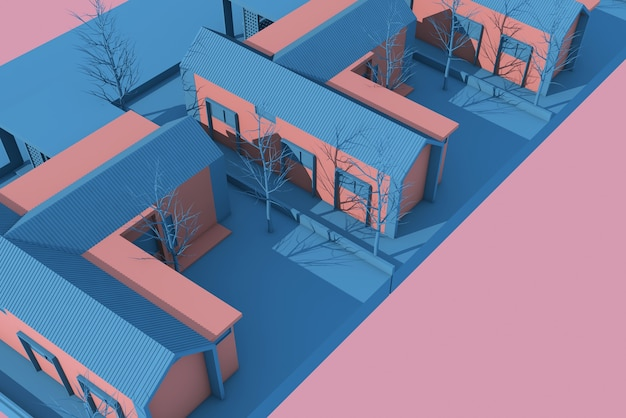 3d 일러스트 마을 계획 설계