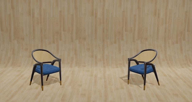 3d illustration vintage style wooden chair on parquet floor and light wood grain wall for design work