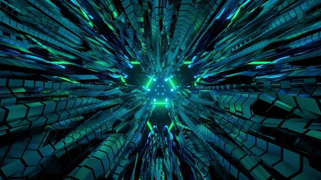 3d illustration of virtual tunnel perspective with triangle shaped interior and metallic panels reflecting green neon lights for abstract futuristic background