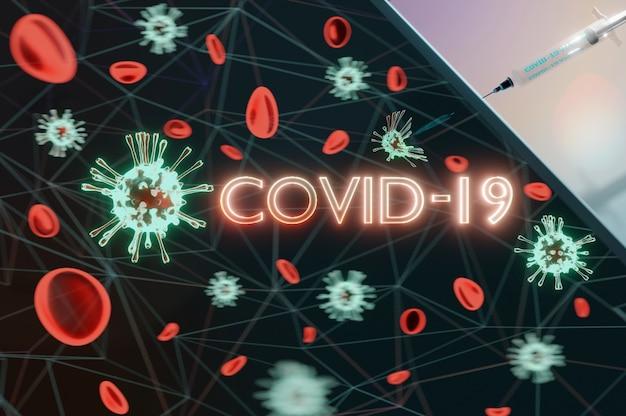 3d иллюстрации. вирусы covid-19 уничтожаются лекарствами путем спринцевания.