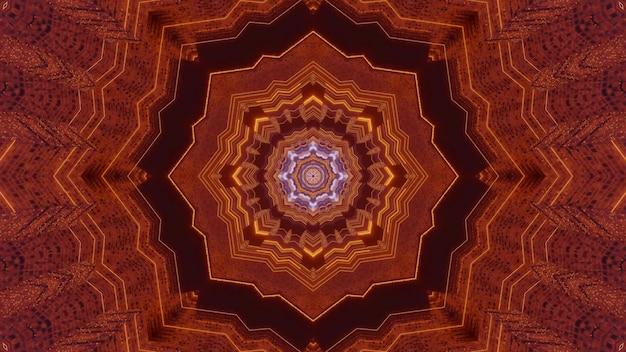 대칭 별 모양의 디자인으로 마법의 터널의 동양 황금 색조의 3d 그림 시각적 추상 배경