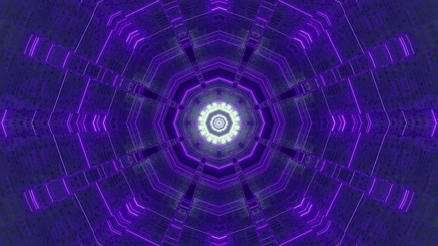 紫のネオンライトデザインと無限多面体サイエンスフィクショントンネルの3dイラスト視覚抽象的な背景
