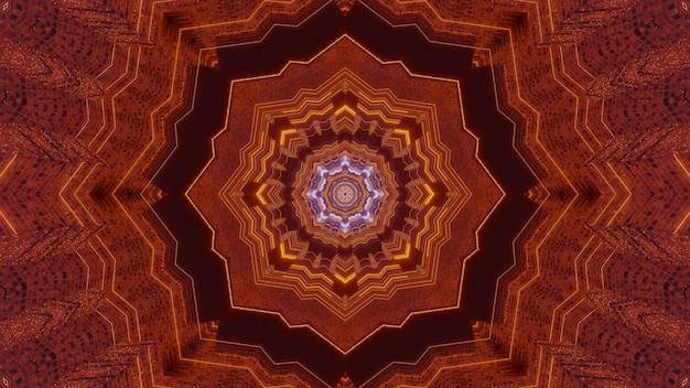 3d illustration visual abstract background in oriental golden tones of magic tunnel with symmetric star shaped design
