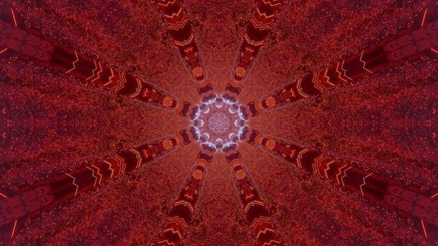 3d иллюстрации визуальный абстрактный фон, представляющий фантастический футуристический красный туннель с симметричными линиями и светящимся отверстием в форме кристалла