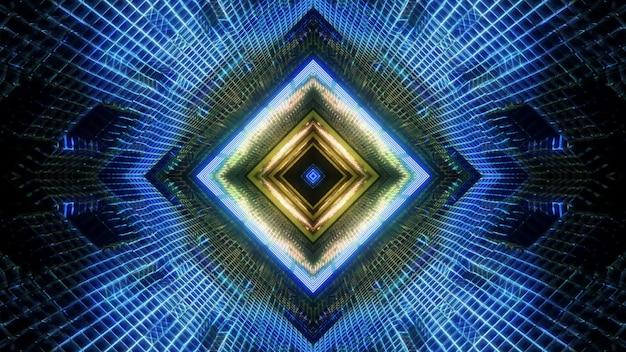 3d иллюстрации визуальный фон дизайн абстрактного геометрического квадратного научно-фантастического коридора с ярким освещением