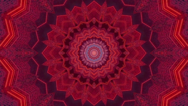 3d illustration visual background with abstract kaleidoscopic flower shaped design in red tones with neon light effect creating illusion of fantastic sci fi tunnel
