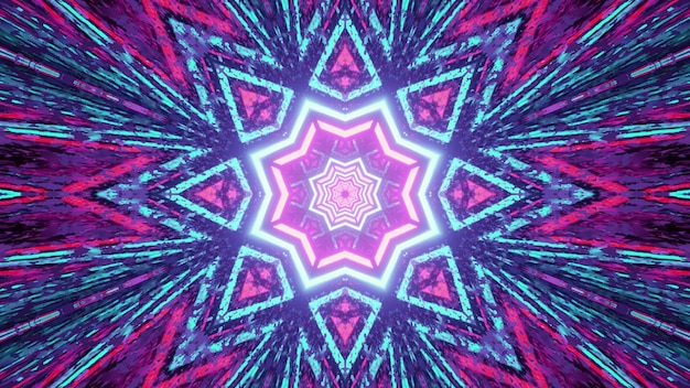 3d illustration vivid abstract with multicolored glowing neon star and lines forming kaleidoscopic pattern with light reflections