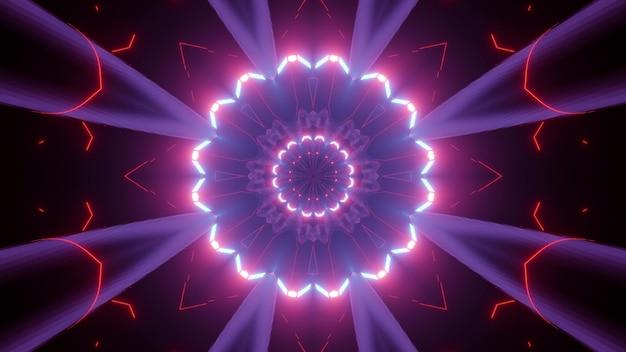 3d illustration of vivid glowing tunnel